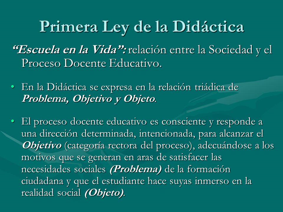 Primera Ley de la Didáctica Escuela en la Vida: relación entre la Sociedad y el Proceso Docente Educativo. En la Didáctica se expresa en la relación t