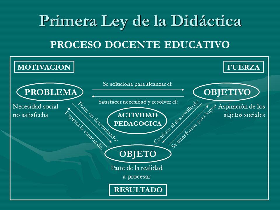 Primera Ley de la Didáctica PROCESO DOCENTE EDUCATIVO MOTIVACIONFUERZA RESULTADO PROBLEMAOBJETIVO OBJETO Necesidad social no satisfecha Aspiración de