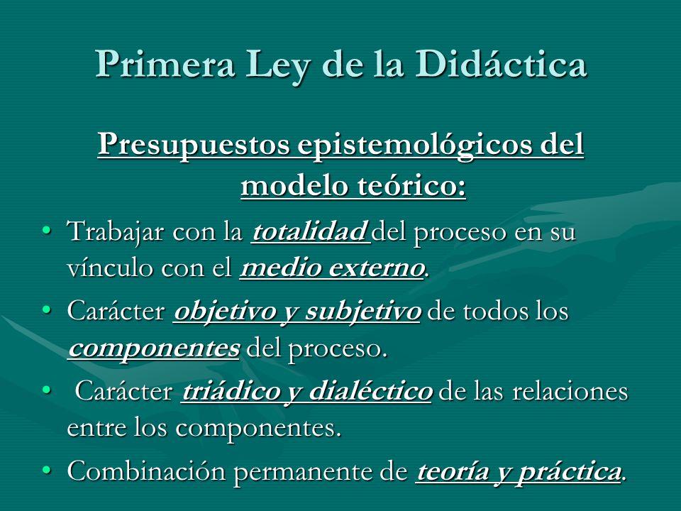 Primera Ley de la Didáctica Presupuestos epistemológicos del modelo teórico: Trabajar con la totalidad del proceso en su vínculo con el medio externo.