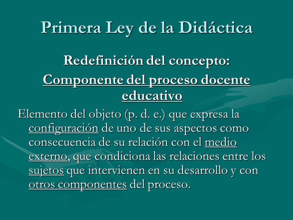Primera Ley de la Didáctica Redefinición del concepto: Componente del proceso docente educativo Elemento del objeto (p. d. e.) que expresa la configur