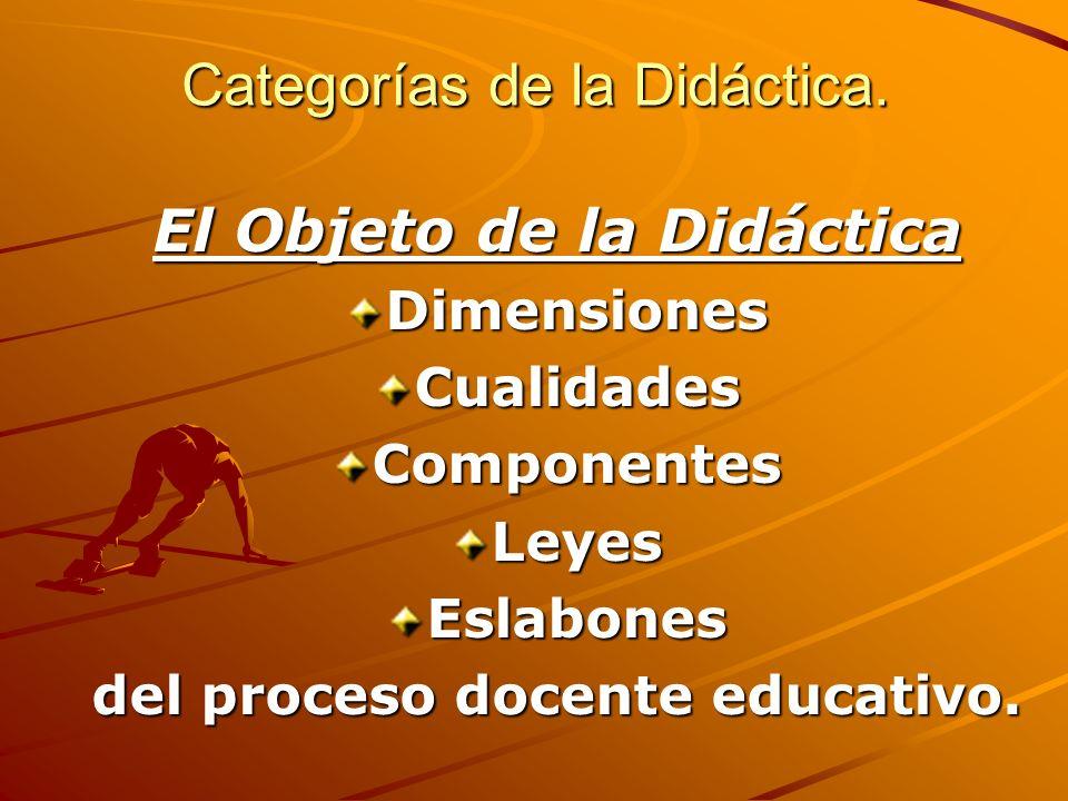 Categorías de la Didáctica. El Objeto de la Didáctica DimensionesCualidadesComponentesLeyesEslabones del proceso docente educativo.