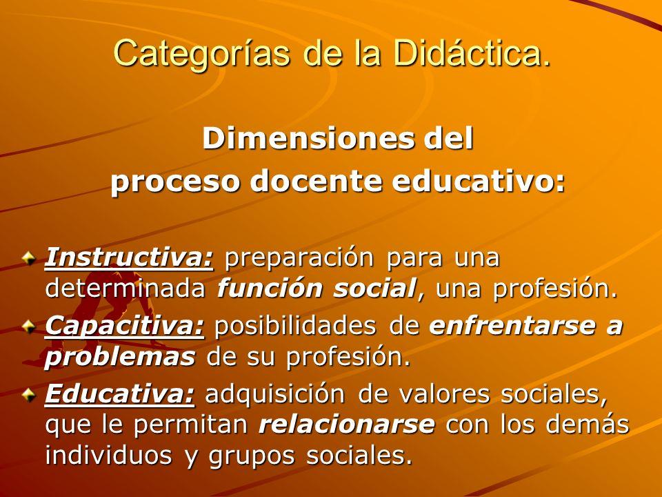 Categorías de la Didáctica. Dimensiones del proceso docente educativo: Instructiva: preparación para una determinada función social, una profesión. Ca