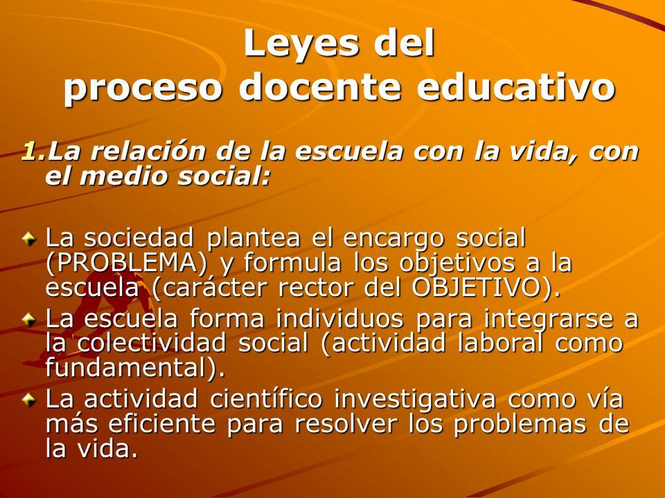 Leyes del proceso docente educativo 1.La relación de la escuela con la vida, con el medio social: La sociedad plantea el encargo social (PROBLEMA) y f