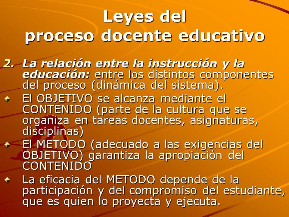 Leyes del proceso docente educativo 2.La relación entre la instrucción y la educación: entre los distintos componentes del proceso (dinámica del siste