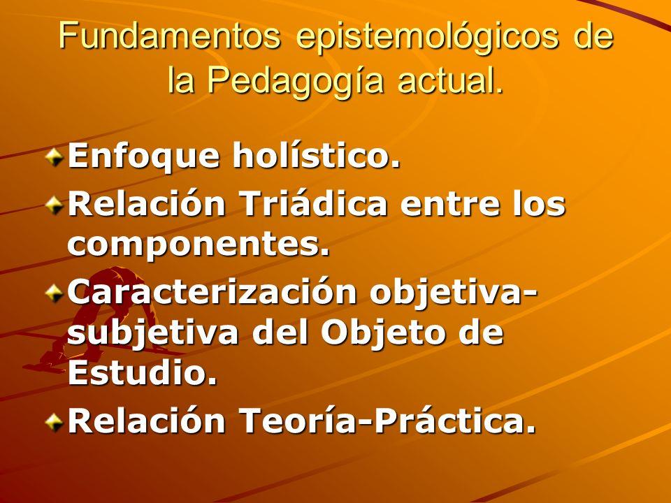 Fundamentos epistemológicos de la Pedagogía actual. Enfoque holístico. Relación Triádica entre los componentes. Caracterización objetiva- subjetiva de