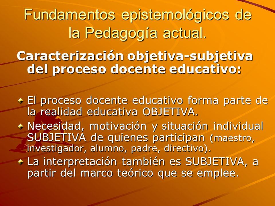 Fundamentos epistemológicos de la Pedagogía actual. Caracterización objetiva-subjetiva del proceso docente educativo: El proceso docente educativo for