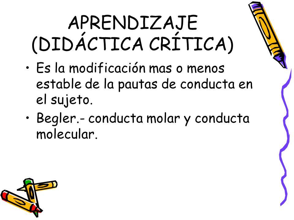 APRENDIZAJE (DIDÁCTICA CRÍTICA) Es la modificación mas o menos estable de la pautas de conducta en el sujeto.