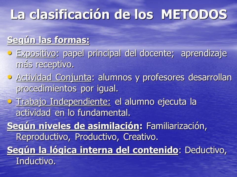 La clasificación de los METODOS Según las formas: Expositivo: papel principal del docente; aprendizaje más receptivo. Expositivo: papel principal del
