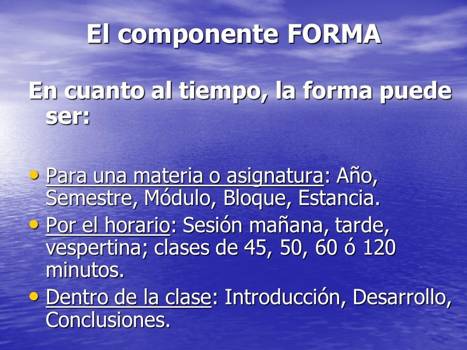 El componente FORMA En cuanto al tiempo, la forma puede ser: Para una materia o asignatura: Año, Semestre, Módulo, Bloque, Estancia. Para una materia