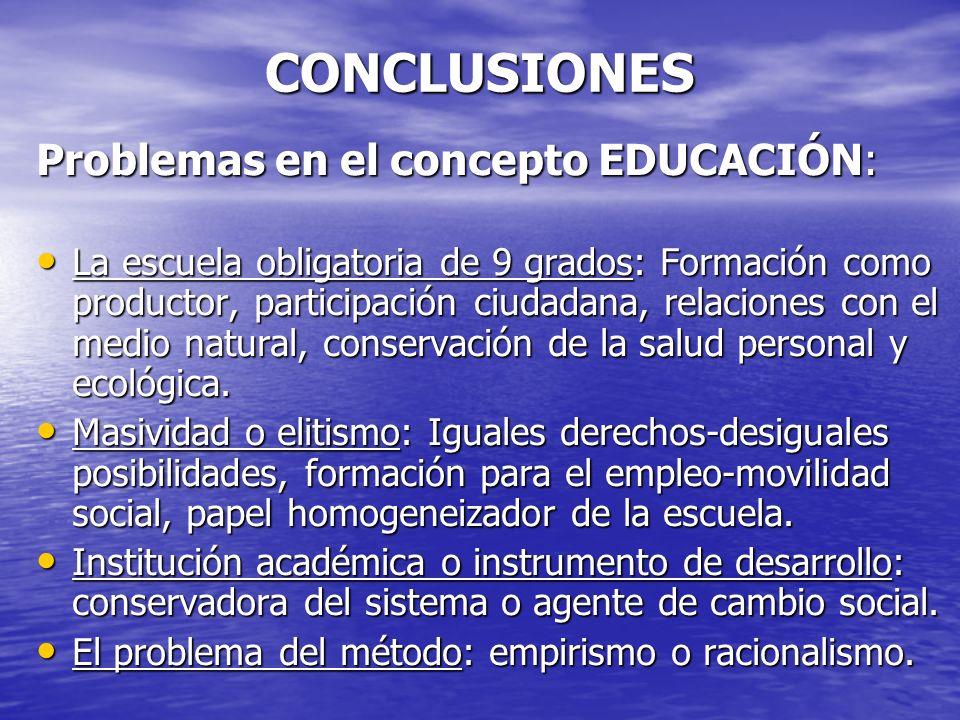 CONCLUSIONES Problemas en el concepto EDUCACIÓN: La escuela obligatoria de 9 grados: Formación como productor, participación ciudadana, relaciones con