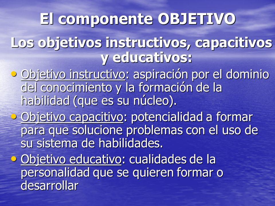 El componente OBJETIVO Los objetivos instructivos, capacitivos y educativos: Objetivo instructivo: aspiración por el dominio del conocimiento y la for