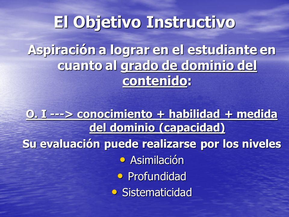 El Objetivo Instructivo Aspiración a lograr en el estudiante en cuanto al grado de dominio del contenido: O. I ---> conocimiento + habilidad + medida