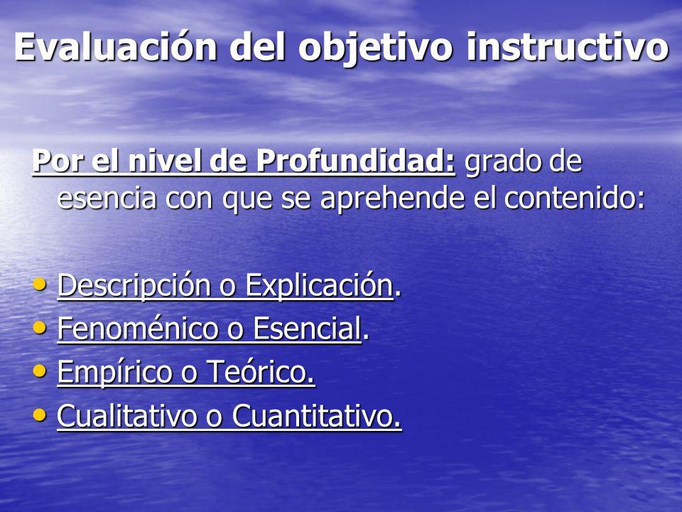 Evaluación del objetivo instructivo Por el nivel de Profundidad: grado de esencia con que se aprehende el contenido: Descripción o Explicación. Descri