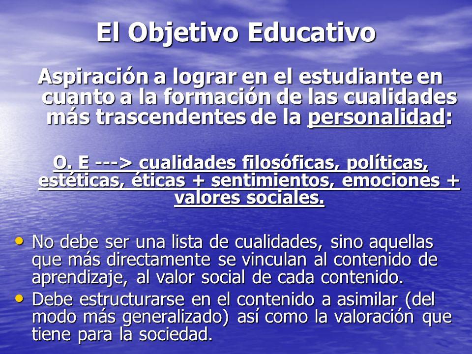 El Objetivo Educativo Aspiración a lograr en el estudiante en cuanto a la formación de las cualidades más trascendentes de la personalidad: O. E --->