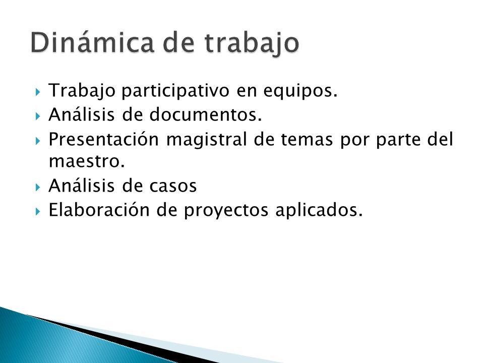Trabajo participativo en equipos. Análisis de documentos. Presentación magistral de temas por parte del maestro. Análisis de casos Elaboración de proy