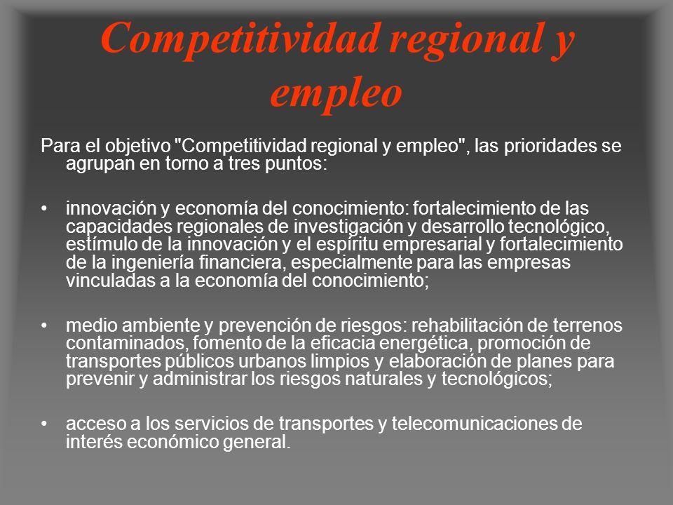 Competitividad regional y empleo Para el objetivo