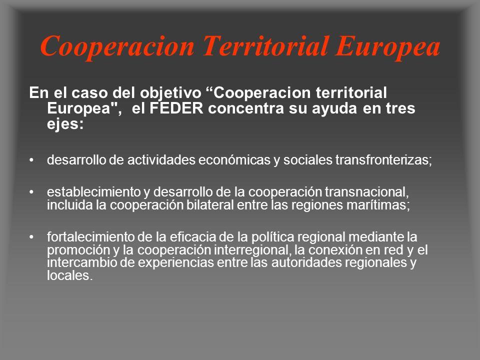 Cooperacion Territorial Europea En el caso del objetivo Cooperacion territorial Europea