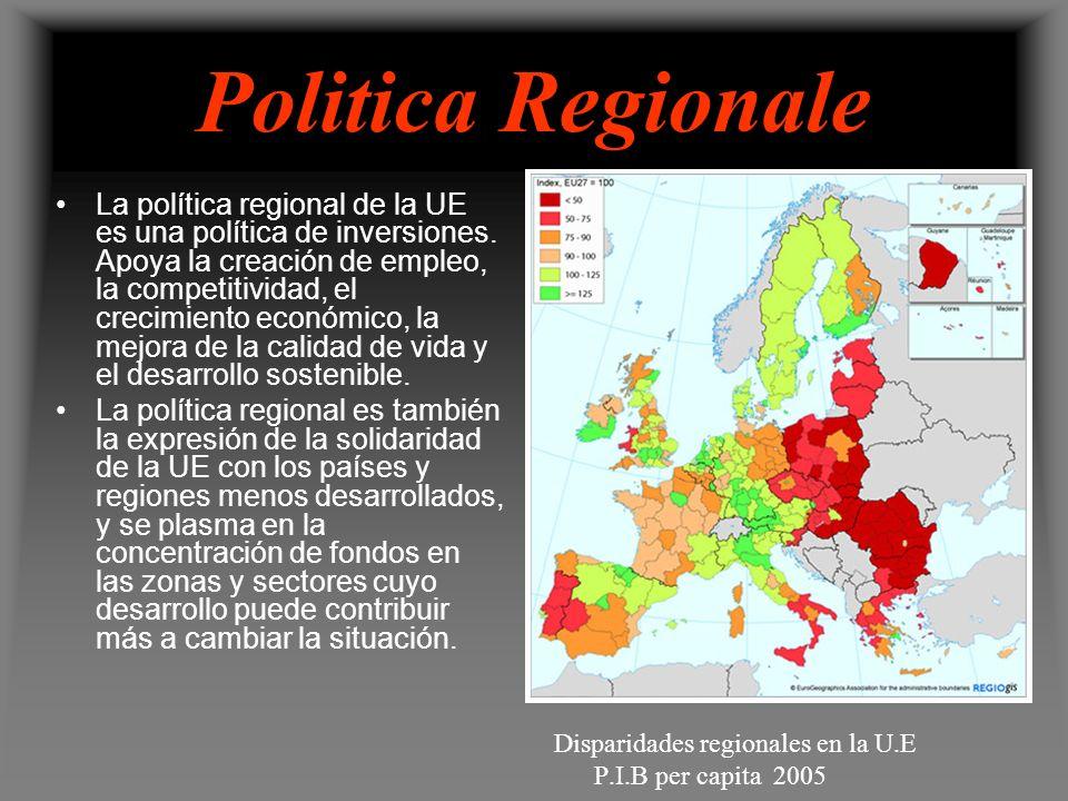 Politica Regionale La política regional de la UE es una política de inversiones. Apoya la creación de empleo, la competitividad, el crecimiento económ