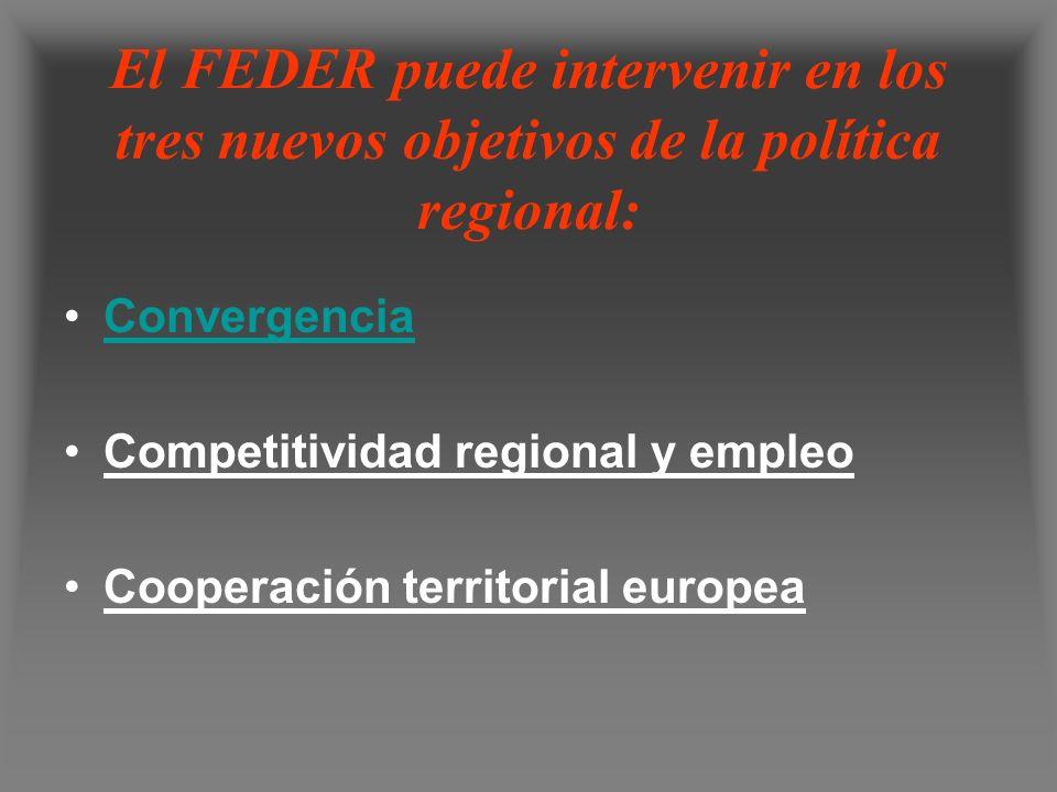 El FEDER puede intervenir en los tres nuevos objetivos de la política regional: Convergencia Competitividad regional y empleo Cooperación territorial