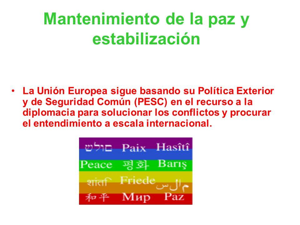 Mantenimiento de la paz y estabilización La Unión Europea sigue basando su Política Exterior y de Seguridad Común (PESC) en el recurso a la diplomacia