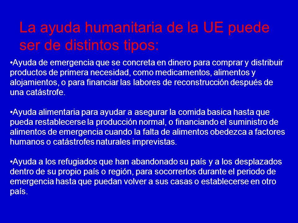 Ayuda de emergencia que se concreta en dinero para comprar y distribuir productos de primera necesidad, como medicamentos, alimentos y alojamientos, o