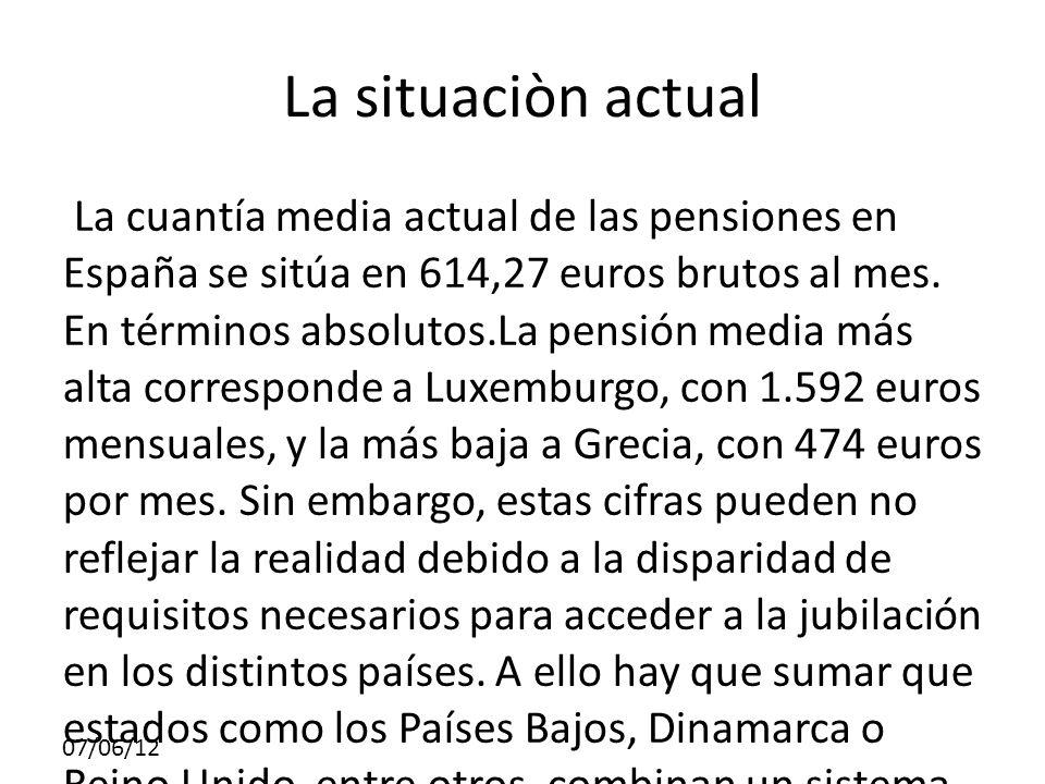 07/06/12 La situaciòn actual La cuantía media actual de las pensiones en España se sitúa en 614,27 euros brutos al mes.