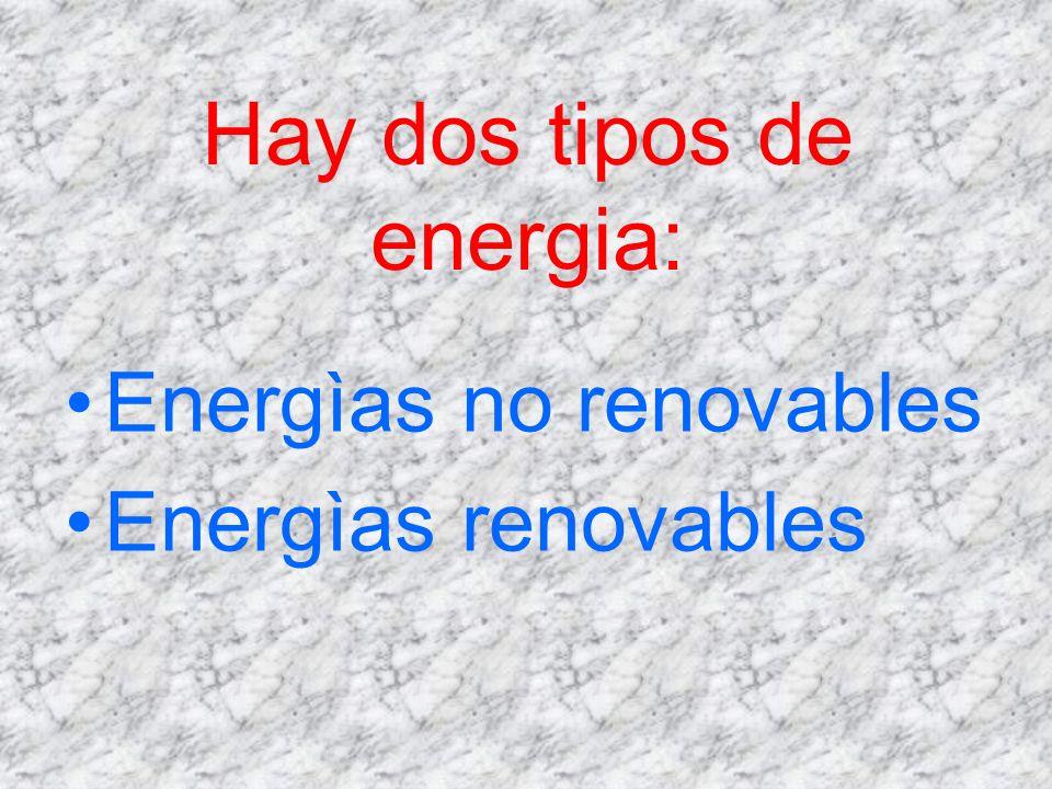 Hay dos tipos de energia: Energìas no renovables Energìas renovables