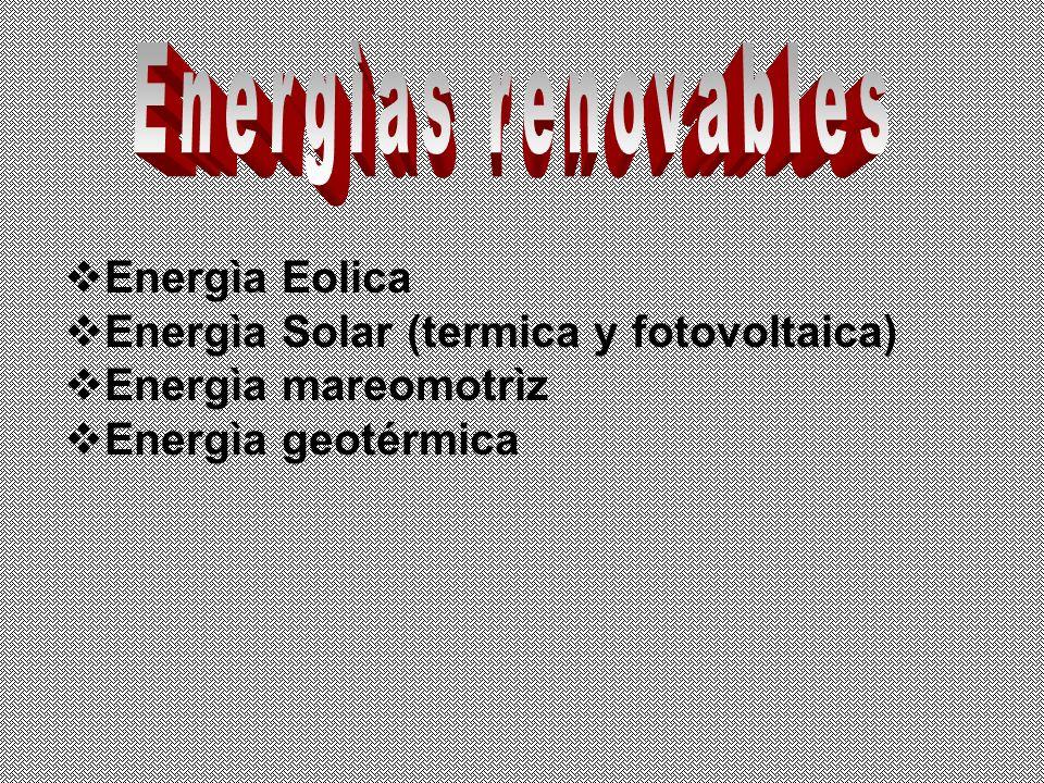 Energìa Eolica Energìa Solar (termica y fotovoltaica) Energìa mareomotrìz Energìa geotérmica