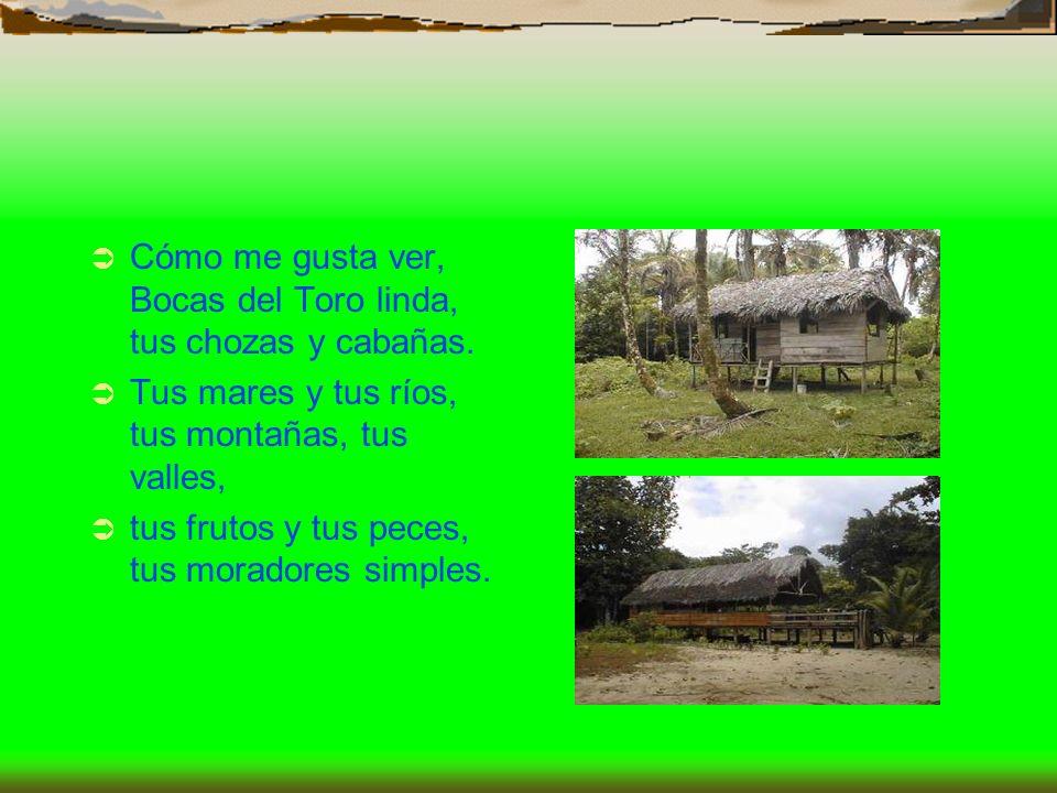 Cómo me gusta ver, Bocas del Toro linda, tus chozas y cabañas. Tus mares y tus ríos, tus montañas, tus valles, tus frutos y tus peces, tus moradores s