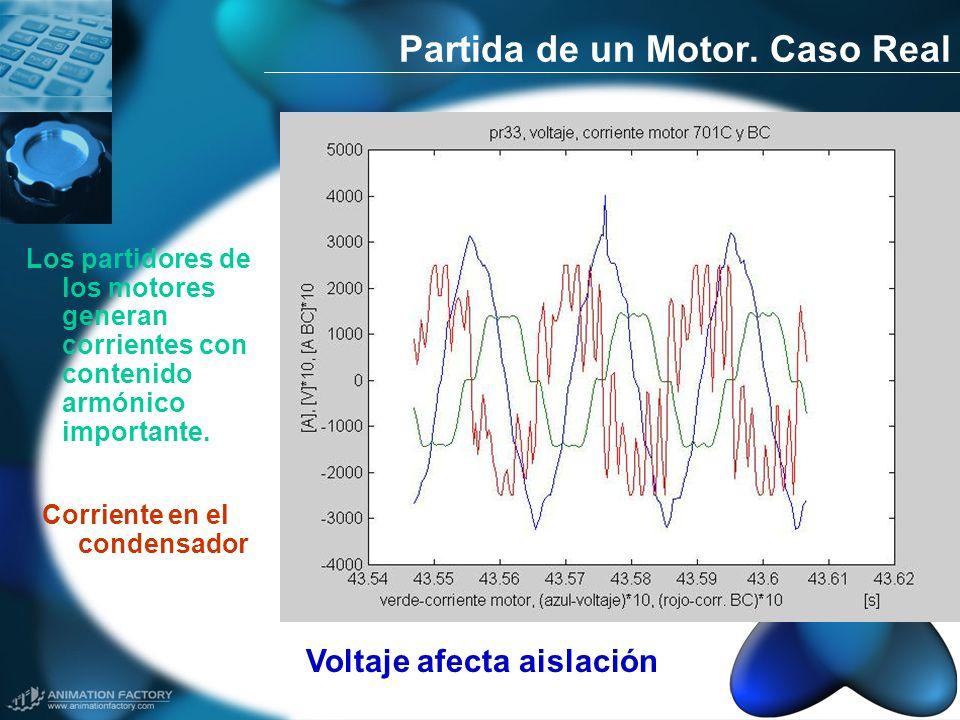 Los partidores de los motores generan corrientes con contenido armónico importante. Partida de un Motor. Caso Real Corriente en el condensador Voltaje