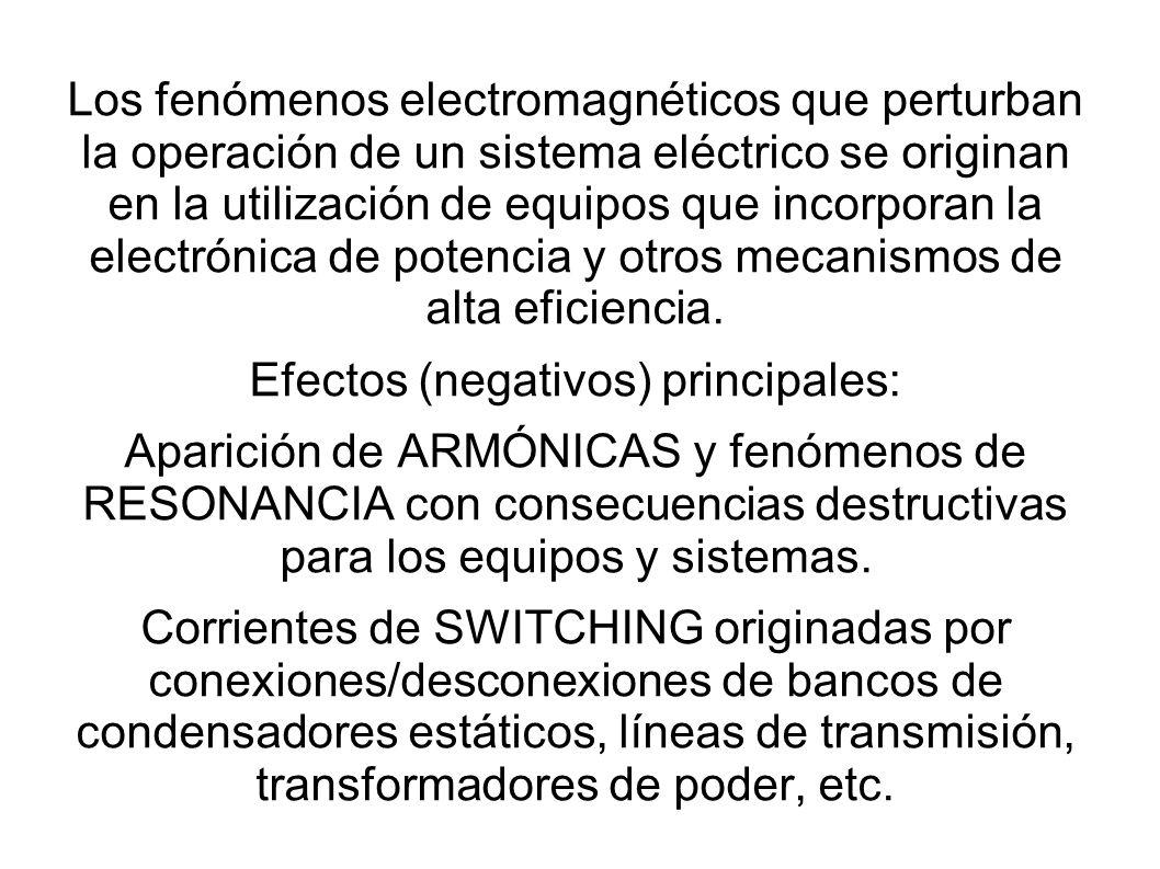 Los fenómenos electromagnéticos que perturban la operación de un sistema eléctrico se originan en la utilización de equipos que incorporan la electrón