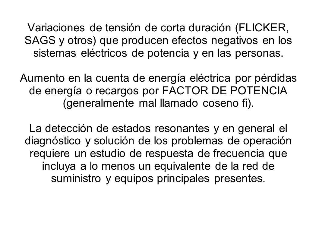 Variaciones de tensión de corta duración (FLICKER, SAGS y otros) que producen efectos negativos en los sistemas eléctricos de potencia y en las person
