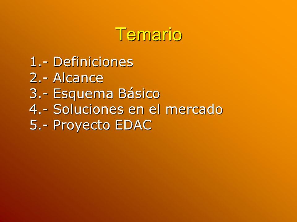 Temario 1.- Definiciones 2.- Alcance 3.- Esquema Básico 4.- Soluciones en el mercado 5.- Proyecto EDAC