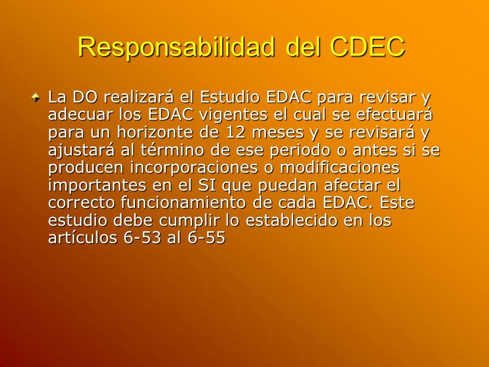 Responsabilidad del CDEC La DO realizará el Estudio EDAC para revisar y adecuar los EDAC vigentes el cual se efectuará para un horizonte de 12 meses y