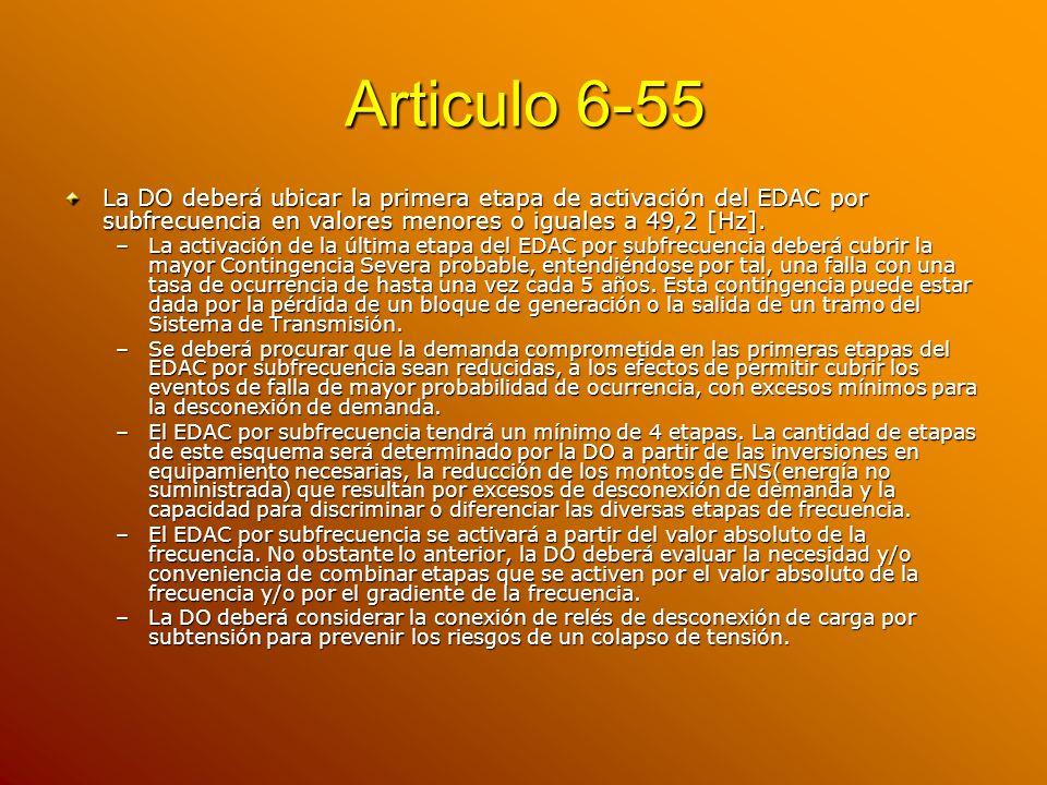 Articulo 6-55 La DO deberá ubicar la primera etapa de activación del EDAC por subfrecuencia en valores menores o iguales a 49,2 [Hz]. –La activación d