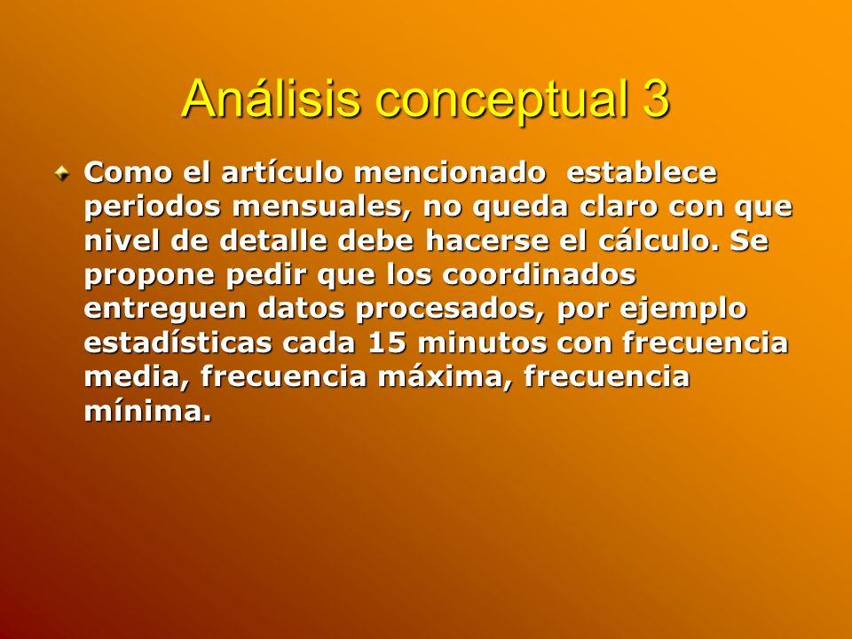 Análisis conceptual 3 Como el artículo mencionado establece periodos mensuales, no queda claro con que nivel de detalle debe hacerse el cálculo. Se pr