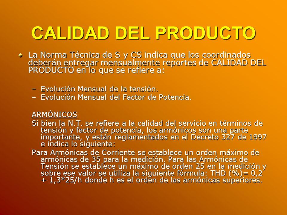 CALIDAD DEL PRODUCTO La Norma Técnica de S y CS indica que los coordinados deberán entregar mensualmente reportes de CALIDAD DEL PRODUCTO en lo que se