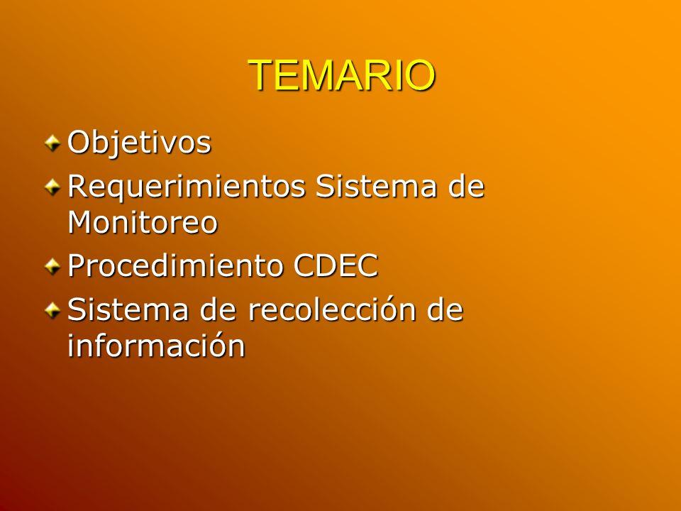TEMARIO Objetivos Requerimientos Sistema de Monitoreo Procedimiento CDEC Sistema de recolección de información