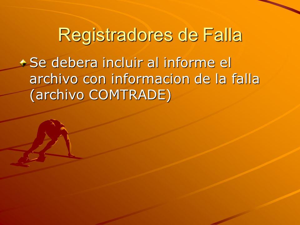 Registradores de Falla Se debera incluir al informe el archivo con informacion de la falla (archivo COMTRADE)