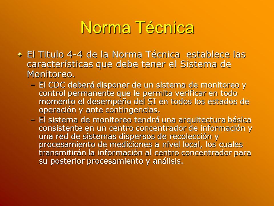Norma Técnica El Titulo 4-4 de la Norma Técnica establece las características que debe tener el Sistema de Monitoreo. –El CDC deberá disponer de un si