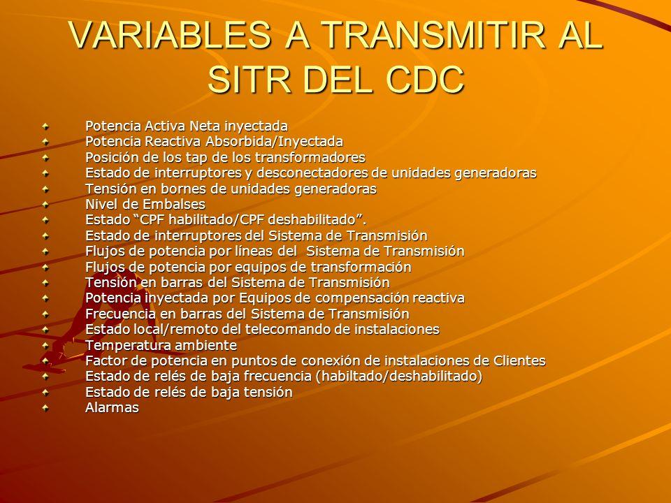 VARIABLES A TRANSMITIR AL SITR DEL CDC Potencia Activa Neta inyectada Potencia Reactiva Absorbida/Inyectada Posición de los tap de los transformadores