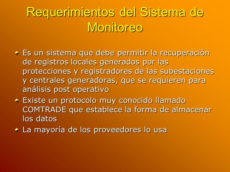 Requerimientos del Sistema de Monitoreo Es un sistema que debe permitir la recuperación de registros locales generados por las protecciones y registra