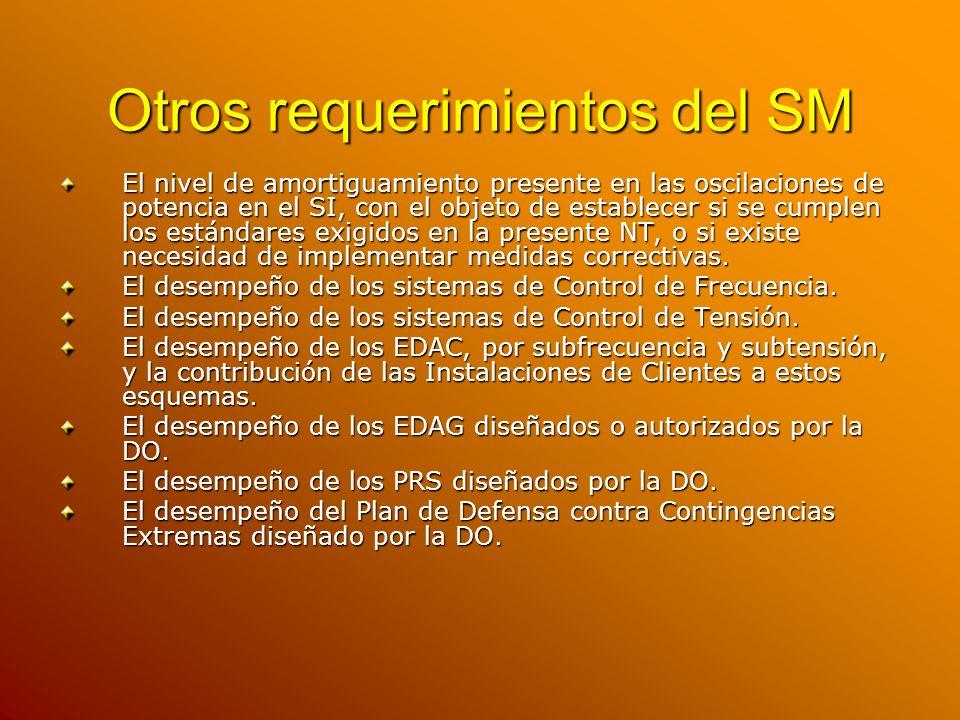 Otros requerimientos del SM El nivel de amortiguamiento presente en las oscilaciones de potencia en el SI, con el objeto de establecer si se cumplen l