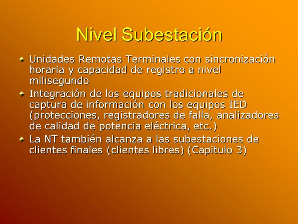 Arquitectura básica Sistema de Monitoreo (1) IED Concentrador y RTU E/S análogos y digitales subestación Comunicación como RTU Comunicación datos COMTRADE IED