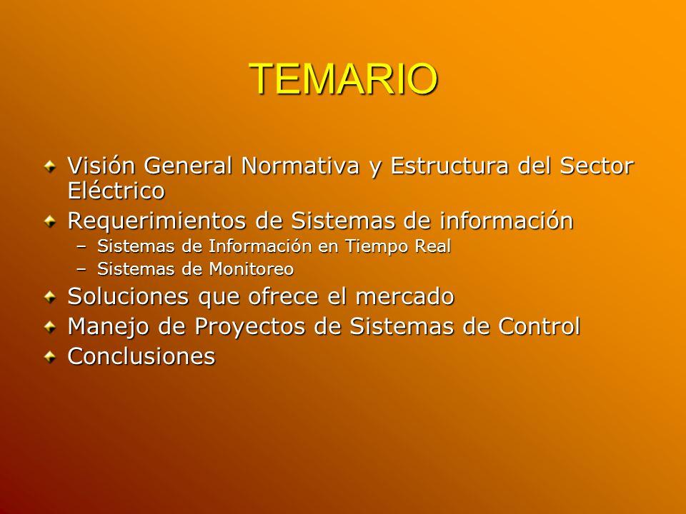 TEMARIO Visión General Normativa y Estructura del Sector Eléctrico Requerimientos de Sistemas de información –Sistemas de Información en Tiempo Real –