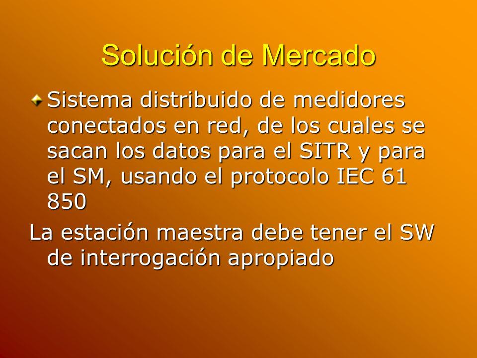 Solución de Mercado Sistema distribuido de medidores conectados en red, de los cuales se sacan los datos para el SITR y para el SM, usando el protocol