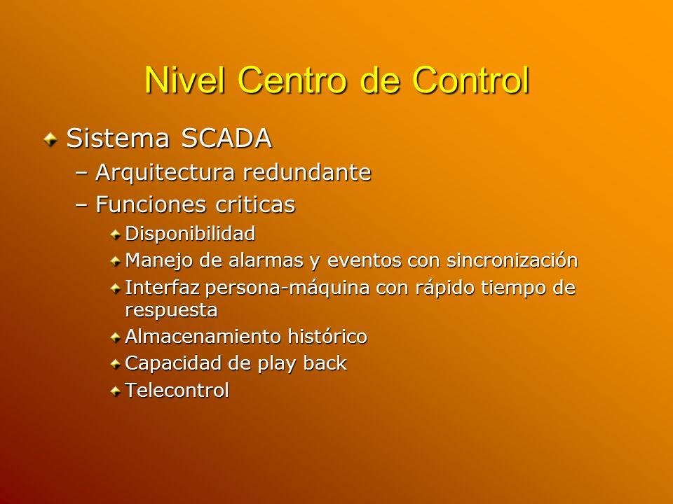 Nivel Centro de Control Sistema SCADA –Arquitectura redundante –Funciones criticas Disponibilidad Manejo de alarmas y eventos con sincronización Inter