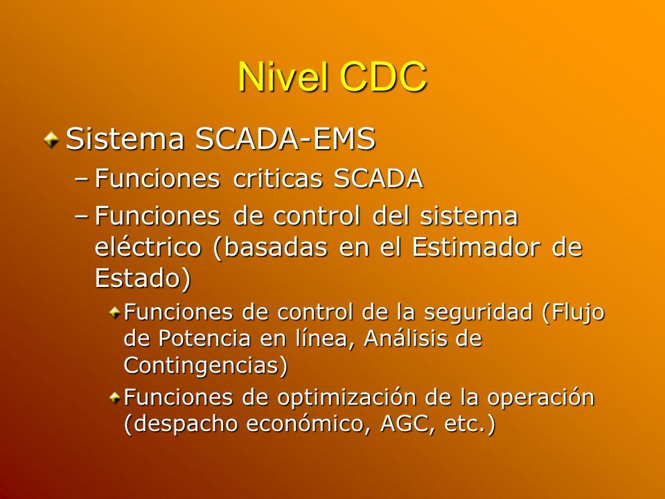 Nivel CDC Sistema SCADA-EMS –Funciones criticas SCADA –Funciones de control del sistema eléctrico (basadas en el Estimador de Estado) Funciones de con