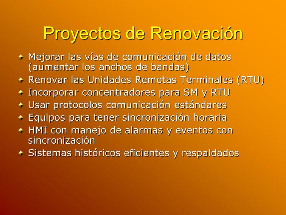 Proyectos de Renovación Mejorar las vías de comunicación de datos (aumentar los anchos de bandas) Renovar las Unidades Remotas Terminales (RTU) Incorp