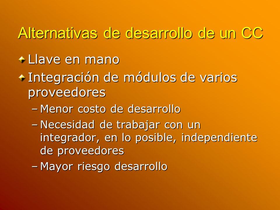 Alternativas de desarrollo de un CC Llave en mano Integración de módulos de varios proveedores –Menor costo de desarrollo –Necesidad de trabajar con u